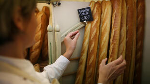 Baguettes in a bakery in Nantes, western France