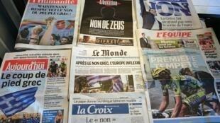 Primeiras páginas diários franceses 6/7/2015