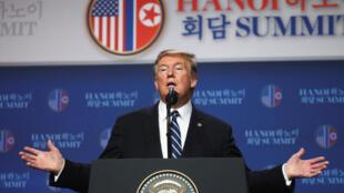 圖為美國總統特朗普於2019年2月28日越南河內特金會上。