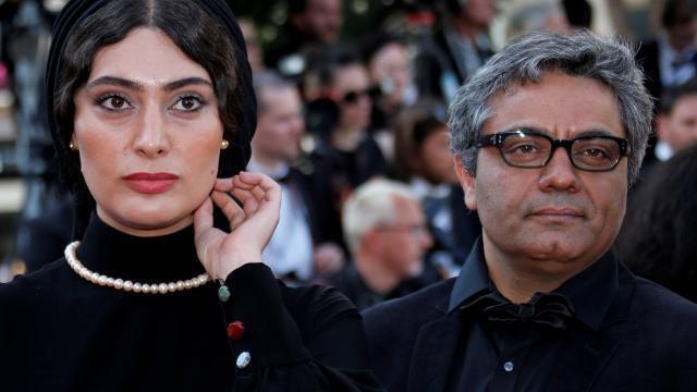 伊朗導演穆罕默德•拉索羅夫和他的女演員Soudabeh Beizaee在戛納國際電影節.