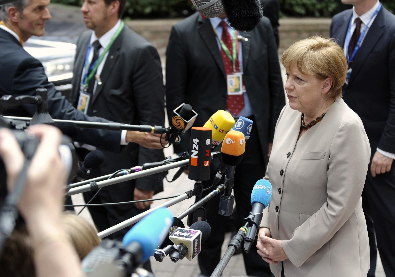 La canciller alemana Angela Merkel a su llegada a la cumbre de la Unión Europea en la tarde del 28 de junio de 2012.