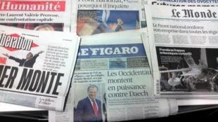 Primeiras páginas dos jornais franceses de 3/12/2015