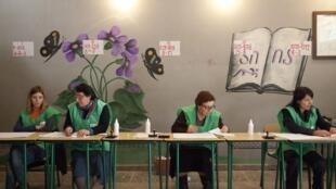 Một phòng bỏ phiếu tại làng Alvani, cách thủ đô Tbilisi 120 km về phía đông Gruzia, ngày 27/10/2013
