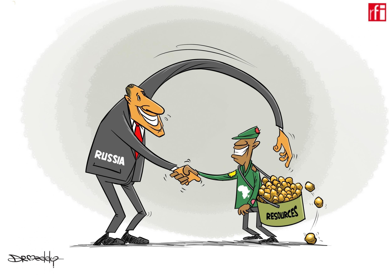 Kibonzo hiki kinaonesha namna Urusi itakavyonufaika na ushirikiano wa karibu na bara la Afrika, baada ya mkutano wa kwanza kati ya Afrika na Urusi (24/10/2019)