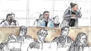 A drawing of Ines Madani during the trial over the foiled Notre-Dame car bomb attack,11 April 2019.