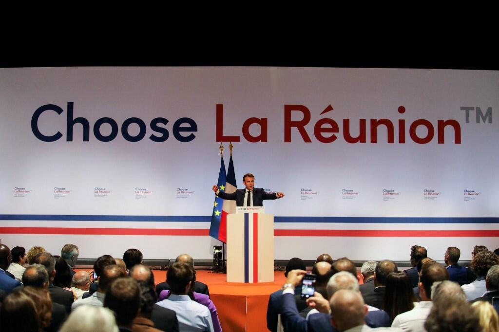Emmanuel Macron, Presidente francês na Ilha da Reunião.