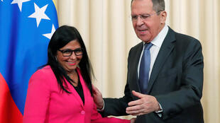 Delcy Rodríguez y Serguéi Lavrov en una conferencia de prensa, este 1 de marzo de 2019 en Moscú.