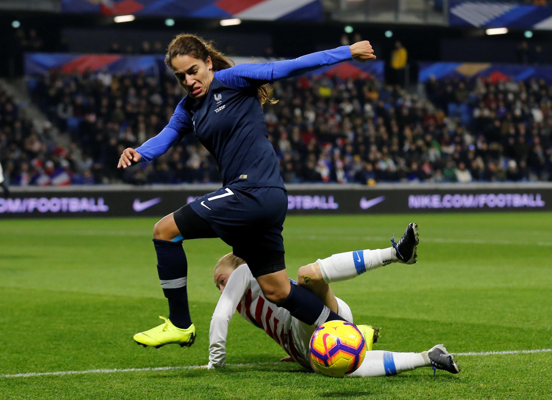 La Française Amel Majri face aux USA en amical le 19 janvier 2019 au Havre.