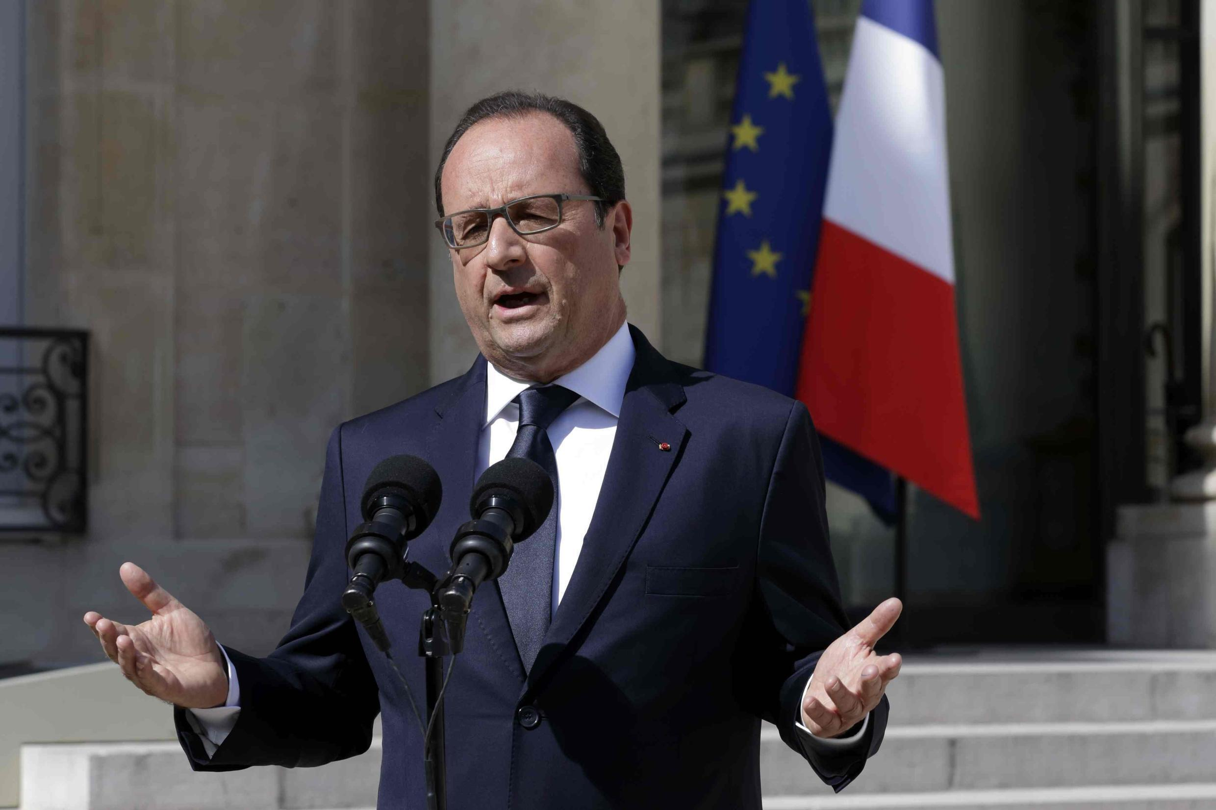 French President François Hollande delivers a statement after holding a council meeting on Greece at the Elysee Palace in Paris, France.