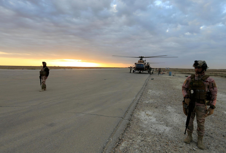 Lực lượng an ninh Irak tại căn cứu không quân Ain Al-Asad, tỉnh Anbar, Irak, nơi có quân Mỹ đồn trú, ngày 29/12/2019. Ảnh minh họa.
