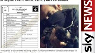Reprodução do site da Sky News que relata lista de 22.000 jihadistas.