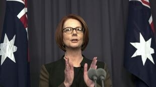 La Première ministre australienne, Julia Gillard, fait ses adieux à la presse le 26 juin.
