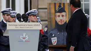 Then president François Hollande at the ceremony in honour of Xavier Jugelé after his murder