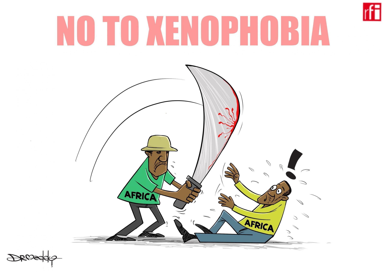 Afrika Kusini: Kibonzo hiki kinaonesha mashambulizi dhidi ya wageni nchini Afrika Kusini, yaliyosababisha vifo vya watu saba (05/09/2019)