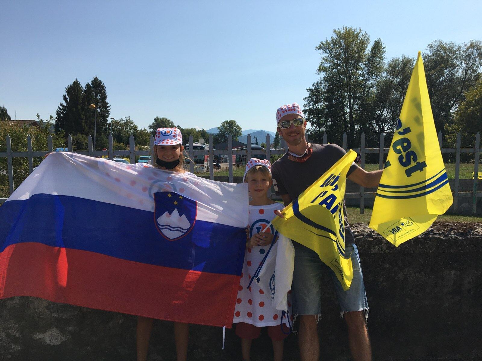 Klement et ses enfants ont changé leur plan de vacances pour supporter les coureurs slovènes sur les routes du Tour de France.