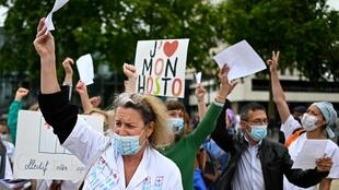 Health workers demonstrating in Rennes, western France, on Tuesday to demand improved working conditions.