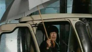 Libyan leader Muammar Gaddafi speaks on state television, 22 February 2011.