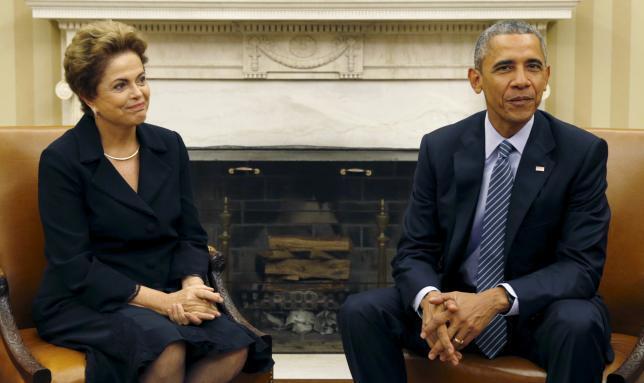 Presidentes Dilma Rousseff e Barack Obama, no Salão Oval da Casa Branca em 30 de junho de 2015.