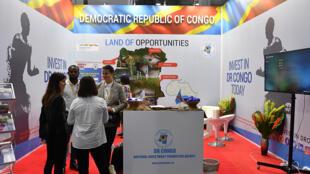 «Invest in DR Congo»: le stand de la RDC lors du sommet et du forum économique Russie-Afrique de Sotchi le 24 octobre 2019. La Banque mondiale vient d'annoncer le financement des petites et moyennes entreprises en RDC.