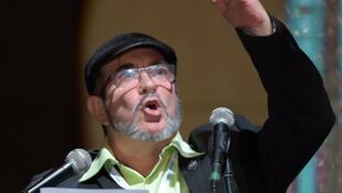 """Rodrigo Londoño Echeverri, """"Timochenko"""" en el Congreso nacional de las FARC, el 27 de agosto en Bogotá."""
