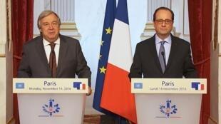 Declaração conjunta à imprensa do chefe de Estado francês, François Hollande, e o secretário-geral da ONU designado, António Guterres