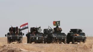 Forças iraquianas a leste de Mossul, no Iraque, a 19 de outubro de 2016, com chefes jiadistas em fuga.