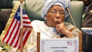 Liberia's President Ellen Johnson Sirleaf attends the opening session of the 2nd Arab-Africa summit in Sirte