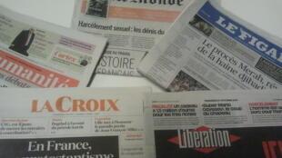 Primeiras páginas dos jornais franceses de 27 de outubro de 2017