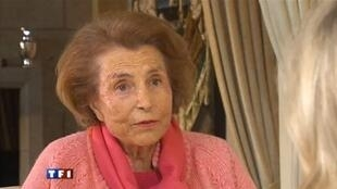Liliane Bettencourt on French television channel TF1