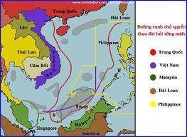 Bản đồ yêu sách lãnh hải tại biển Đông, trong đó đường lưỡi bò theo yêu sách của Trung Quốc cũng như Đài Loan (vạch đỏ).