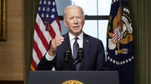 joe biden maison blanche états-unis / Joe Biden s'exprime depuis la Maison Blanche sur le retrait américain d'Afghanistan, le 14 avril 2021.