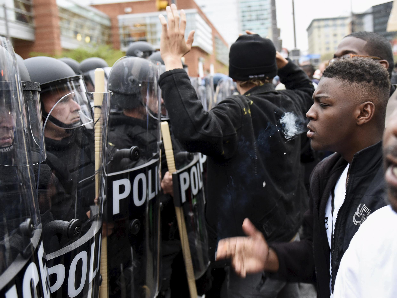 Maandamano Baltimore Jumamosi Aprili 25 ya kupinga dhidi ya kifo cha kijana mweusi, raia wa Marekani.