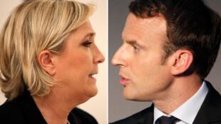 Кандидаты в президенты Франции Марин Ле Пен и Эмманюэль Макрон