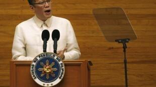 Tổng thống Philippines Benigno Aquino phát biểu tại Hạ viện, Manila, 25/7/2011.