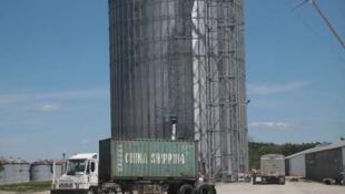Un conteneur chargé de soja destiné à la Chine, dans l'Illinois, aux Etats-Unis.