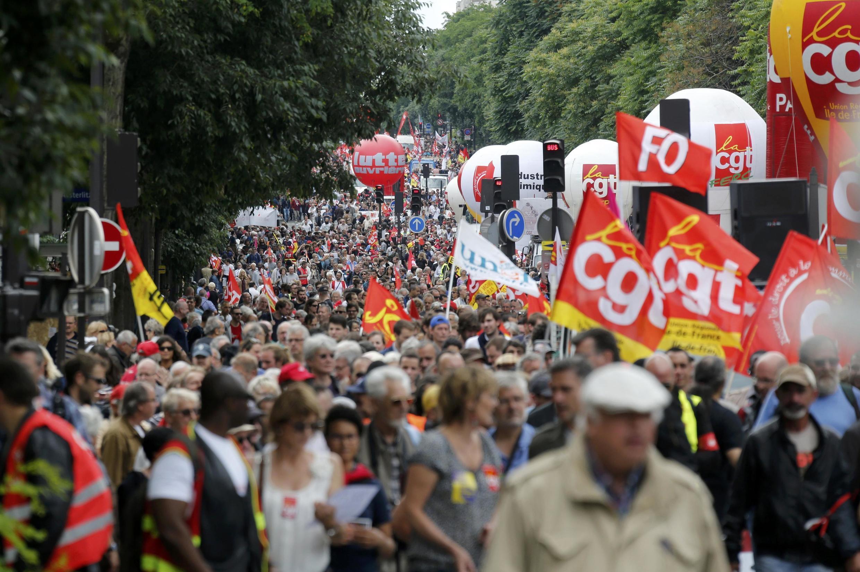Manifestação em Paris contra a reforma trabalhista.