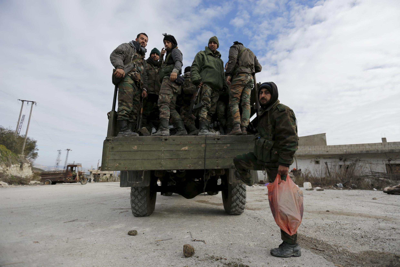 Quân chính phủ Damas đang trên đà thắng thế trên chiến trường Syria. Ảnh chụp ngày 27/01/2016 2016 trong thành phố Rabia.
