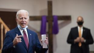 Le candidat démocrate à la présidentielle américaine Joe Biden à la Bethel AME Church à Wilimington (Delaware), le 1er juin 2020.
