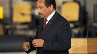Mohamed Ould Abdel Aziz le président de la Mauritanie à Tunis, le 14 janvier 2012.
