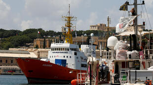 L'«Aquarius» dans le port de La Valette, à Malte, le 15 août 2018.