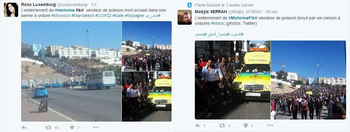 Ảnh về cái chết của Mouhcine Fikri quay truyền rộng rãi trên mạng xã hội