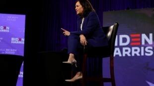 La sénatrice Kamala Harris a effectué son premier grand meeting virtuel de colistière démocrate, le 12 août à Wilmington.