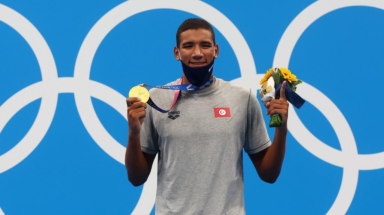 PHOTO Ahmed Hafnaoui médaille d'or