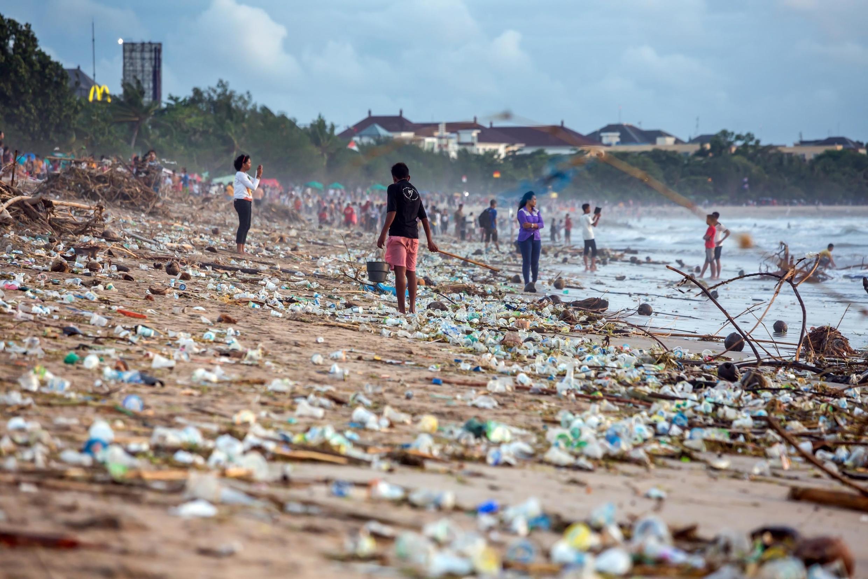 Beach pollution at Kuta beach, Bali