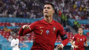 Cristiano Ronaldo celebrates after his record-equalling goal