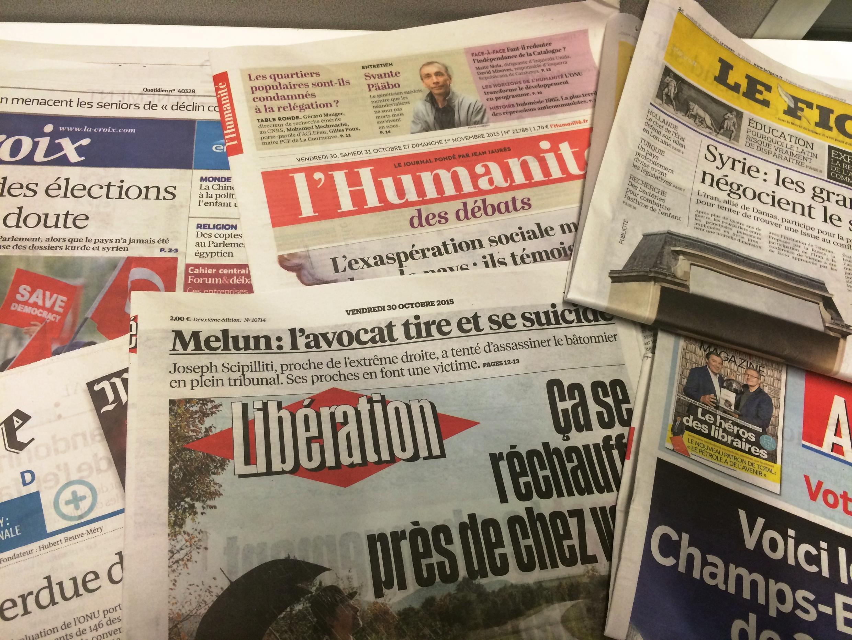 Capas dos jornais diários franceses de 30/10/15