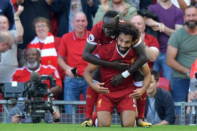 L'Egyptien Mohamed Salah et le Sénégalais Sadio Mané sous le maillot de Liverpool.