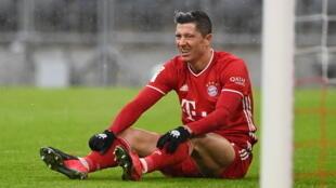L'attaquant polonais du Bayern Munich, Robert Lewandowski, lors du match de Bundesliga contre Fribourg, le 17 janvier 2021 à Munich