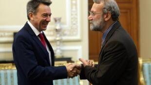 علی لاریجانی و پیتر مائورو، رئیس کمیته بین المللی صلیب سرخ
