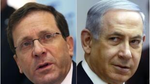O líder trabalhista da União Sionista (centro-esquerda), Isaac Herzog (esquerda), e o primeiro-ministro israelense, Benjamin Netanyahu.